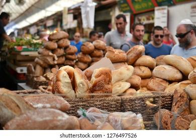 bread at Mahane Yehuda, shuk, Jewish grocery market in Jerusalem, Israel