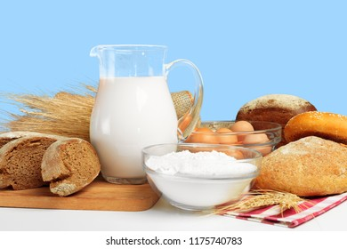 Bread and milk on the table