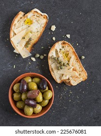 Bread And Olives. Selective Focus.