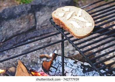 bread on camping fire