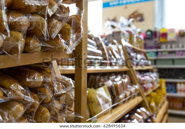 Bread is on the shelves of the convenience store