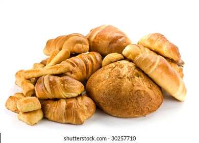 Bread on the white background