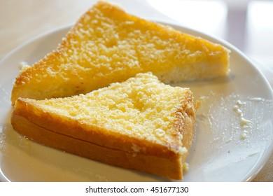 Bread on white dish