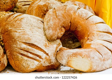 Bread products are on the table