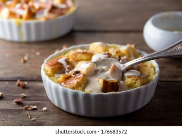 Bread Pudding with Walnuts and Maple Cream Sauce