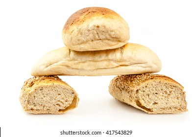 Bread pyramid on white background