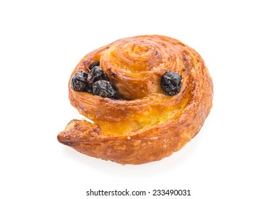 Bread raisin roll isolated on white background