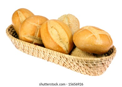 Bread rolls isolated on a white background.