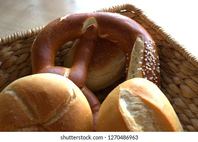 Bread rolls and pretzel fresh from the bakery