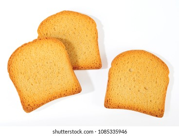 bread rusks isolated over white background