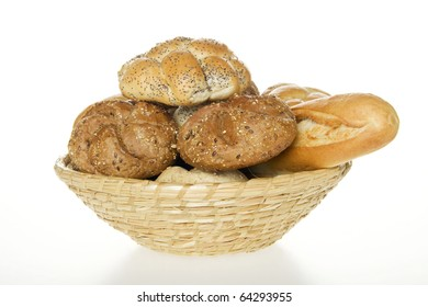 Bread in scuttle on white background.