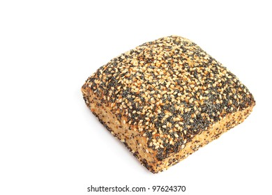 Bread with sesame and poppy seeds isolated on white background.