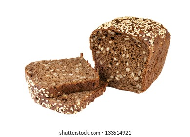 bread with sesame seeds isolated on white background