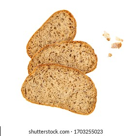 Bread slices and crumbs isolated on a white background. Bread viewed from above. Flat lay. Bakery Food concept.