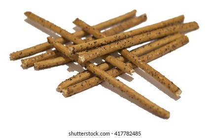 Bread sticks with poppy seeds isolated