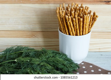 Bread sticks with sea salt and dill. Copy space.