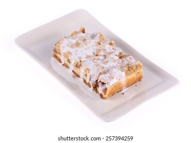 Bread toast and condensed milk with peanut butter isolated on white background