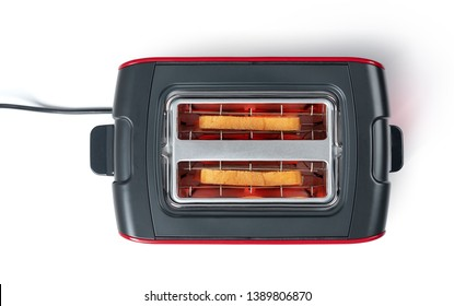 Bread toasted in toaster top view, isolated on white background. File contains a path to isolation.