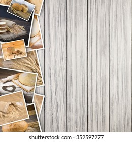 Bread and wheat in photos on a wooden background.