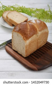 The bread which I baked with a big rectangular box-shaped model