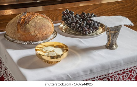 The bread and wine - catholic mass - the symbols of eucharist.