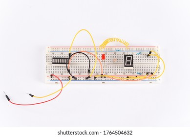 Breadboard electrical for learn for beginners, top view.