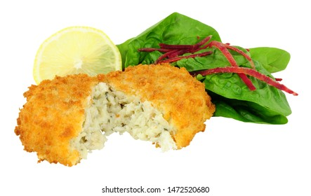 Breadcrumb covered cod fish cake isolated on a white background