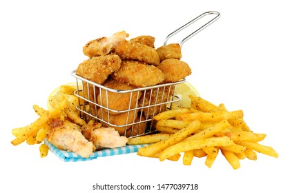Breadcrumb fried scampi in a small wire frying basket with French fries isolated on  a white background
