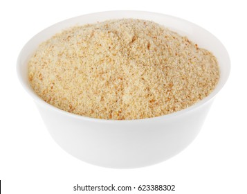 breadcrumbs in a white bowl on white background isolate