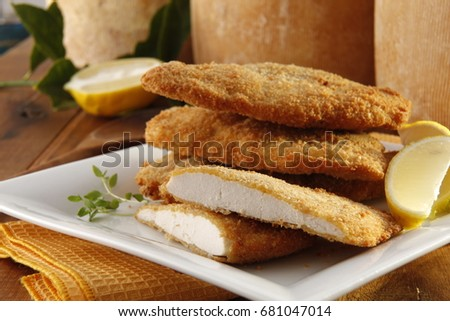 Breaded Chicken Parmesan Fillets Recipe Spanish Stock Photo Edit