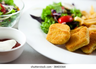 Breaded chicken with salad