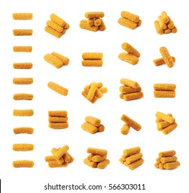 Breaded crab stick snacks isolated over the white background, set of multiple different foreshortenings