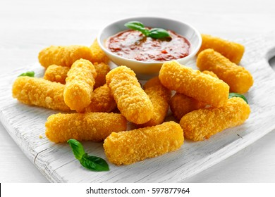 Breaded mozzarella cheese sticks with tomato basil sauce.