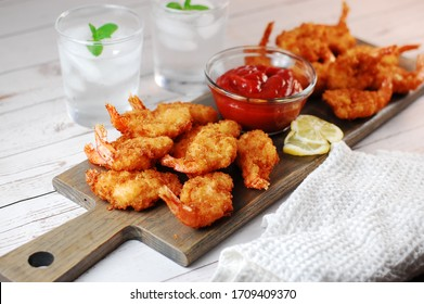 Breaded prawns with cocktail sauce, seafood, deep fried, tempura, appetizer