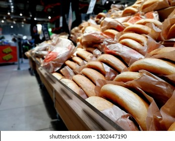 Breads on market. Bakery and hot bread on store