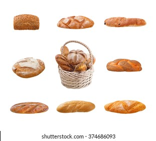 Breads set on a white background.