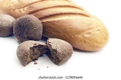 breads, still-life on white