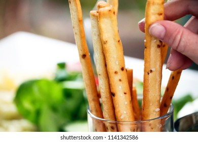 Breadsticks on a dinner table
