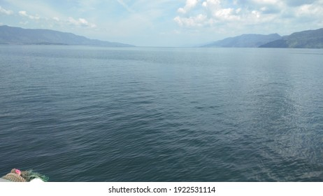 the breadth of Lake Toba when photographed from the boat