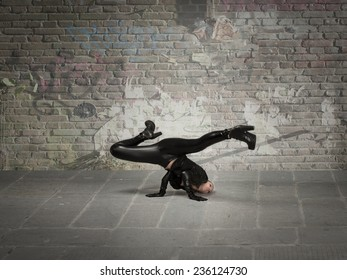 break dance movement for girl in leather cloth