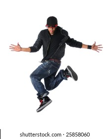 Break dancer jumping isolated over a white background