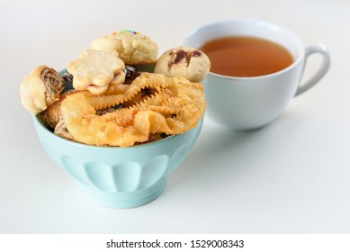 Break the fast for Yom Kippur with mini diverse cookies and cup of tea. Arabic Sweets. Middle Eastern Desserts. Festive Henna Cookies. Moroccan Sweets. Mimouna Cookies.