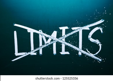 break the limits concept, words on grunge board.