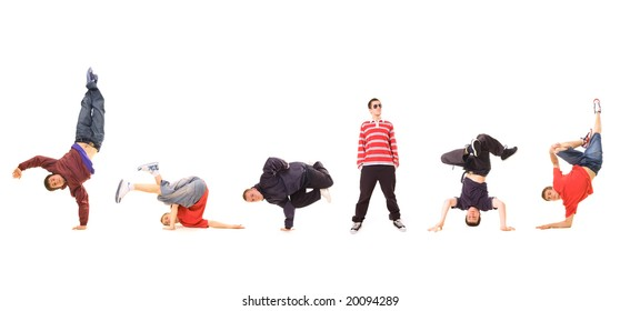 breakdance team isolated on white