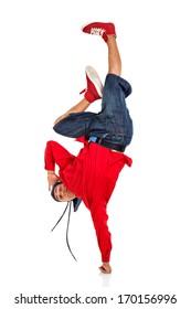 Breakdancer doing hand stand