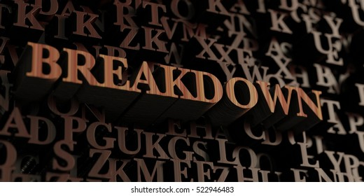 Breakdown - Wooden 3D rendered letters/message.  Can be used for an online banner ad or a print postcard.