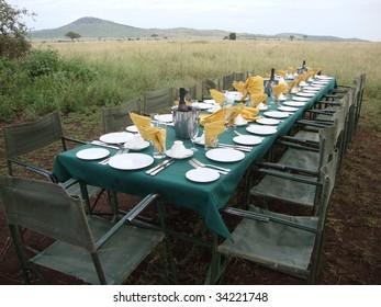 breakfast after hot air balloon at serengeti, tanzania
