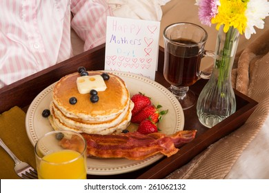 Breakfast in bed served for Mom on Mother's Day