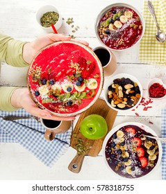 Breakfast with berries smoothies. Healthy food concept. Top view