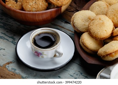 Breakfast with black coffee and cereal biscuits